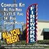Fireworks (Starburst) Windless Feather Banner Flag Kit (Flag, Pole, & Ground Mt)