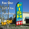 FISH TACOS 99 (Blue/Red) Flutter Feather Banner Flag (11.5 x 3 Feet)