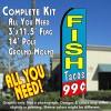 FISH TACOS 99 (Blue/Red) Flutter Feather Banner Flag Kit (Flag, Pole, & Ground Mt)