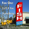 FISH TACOS (Red/Blue) Flutter Feather Banner Flag (11.5 x 3 Feet)