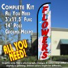Flowers Windless Feather Banner Flag Kit (Flag, Pole, & Ground Mt)