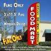 Food Mart (Snacks, Drinks, Smokes) Windless Polyknit Feather Flag (3 x 11.5 feet)