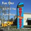 FRESH HOT DOGS (Blue/Red) Flutter Polyknit Feather Flag (11.5 x 2.5 feet)