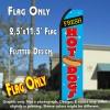 FRESH HOT DOGS (Blue/Red) Flutter Polyknit Feather Flag (11.5 x 2.5 feet)