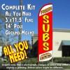 Fresh Subs (White/Red) Windless Feather Banner Flag Kit (Flag, Pole, & Ground Mt)