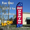 GRAND OPENING (Blue/Red/Stars) Flutter Polyknit Feather Flag (11.5 x 2.5 feet)