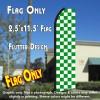 Checkered GREEN/WHITE Flutter Polyknit Feather Flag (11.5 x 2.5 feet)
