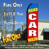 HAND CAR WASH (Blue/Red) Flutter Feather Banner Flag (11.5 x 3 Feet)