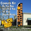 HAPPY HALLOWEEN (Black) Flutter Feather Banner Flag Kit (Flag, Pole, & Ground Mt)