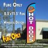 HOT DOGS Multicolor Windless Polyknit Feather Flag (11 x 2.5 feet)