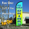 Ice Cold Drinks Windless Polyknit Feather Flag (3 x 11.5 feet)