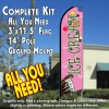 Ice Cream (Pink) Windless Feather Banner Flag Kit (Flag, Pole, & Ground Mt)