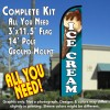 Ice Cream (Teal) Windless Feather Banner Flag Kit (Flag, Pole, & Ground Mt)