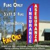 INSURANCE/ASEGURANZA (Blue/Red/White) Flutter Feather Banner Flag (11.5 x 3 Feet)