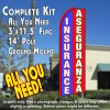 INSURANCE/ASEGURANZA (Blue/Red/White) Flutter Feather Banner Flag Kit (Flag, Pole, & Ground Mt)