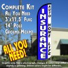 Insurance Auto, Home, Life (Blue/White) Windless Feather Banner Flag Kit (Flag, Pole, & Ground Mt)