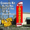 Insurance Auto Home (Red/Yellow) Windless Feather Banner Flag Kit (Flag, Pole, & Ground Mt)