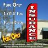INSURANCE (Red/White) Flutter Feather Banner Flag (11.5 x 3 Feet)