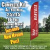 Keller Williams Rentals burgundy white windless  Feather Banner Flag Kit (Flag, Pole, & Ground Mt)