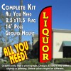 LIQUOR (Red/Yellow) Windless Feather Banner Flag Kit (Flag, Pole, & Ground Mt)