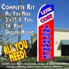 LOW COST INSURANCE (Tri-color) Flutter Feather Banner Flag Kit (Flag, Pole, & Ground Mt)