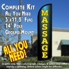 Massage Windless Feather Banner Flag Kit (Flag, Pole, & Ground Mt)