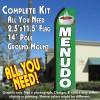 MENUDO (Green/White) Flutter Feather Banner Flag Kit (Flag, Pole, & Ground Mt)