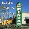 MENUDO (Green/White) Flutter Polyknit Feather Flag (11.5 x 2.5 feet)