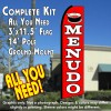 MENUDO (Red) Flutter Feather Banner Flag Kit (Flag, Pole, and Ground Mount)