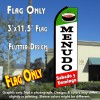 MENUDO Sabado y Domingo (Green/White/Red)Flutter Feather Banner Flag (11.5 x 3 Feet)