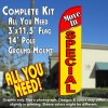 Move-In Special (Red/Yellow) Windless Feather Banner Flag Kit (Flag, Pole, & Ground Mt)