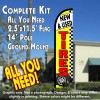 NEW & USED TIRES (Yellow/Checkered) Windless Feather Banner Flag Kit (Flag, Pole, & Ground Mt)