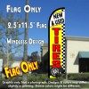 NEW & USED TIRES (Yellow/Checkered) Windless Polyknit Feather Flag (2.5 x 11.5 feet)