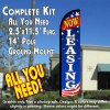 NOW LEASING (Blue/White/Stars) Windless Feather Banner Flag Kit (Flag, Pole, & Ground Mt)