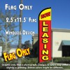 NOW LEASING (Red) Windless Feather Banner Flag (2.5 x 11.5 Feet)