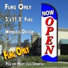 NOW OPEN (Blue/Red/White) Windless Polyknit Feather Flag (3 x 11.5 feet)