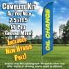 Oil Change (Blue/Yellow) Windless Feather Banner Flag Kit (Flag, Pole, & Ground Mt)