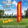 Oil Change (Red/Yellow) Windless Polyknit Feather Flag Only (3 x 11.5 feet)