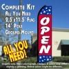 OPEN (Blue/Red/Stars) Flutter Feather Banner Flag Kit (Flag, Pole, & Ground Mt)