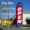 OPEN (Blue/Red/Stars) Flutter Polyknit Feather Flag (11.5 x 2.5 feet)