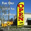 OPEN DURING CONSTRUCTION (Yellow) Flutter Feather Banner Flag (11.5 x 3 Feet)