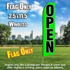 Open (Green/Black Letters) Flutter Feather Flag Only (3 x 11.5 feet)