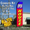 OPEN HOUSE (Blue/Red) Windless Feather Banner Flag Kit (Flag, Pole, & Ground Mt)