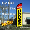 OPEN HOUSE (Red/Yellow) Windless Feather Banner Flag (2.5 x 11.5 Feet)