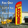 Open House (Red/Yellow) Windless Polyknit Feather Flag (3 x 11.5 feet)