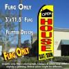 OPEN HOUSE SAT/SUN (Yellow) Flutter Feather Banner Flag (11.5 x 3 Feet)