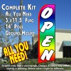 OPEN (Multi-colored) Flutter Feather Banner Flag Kit (Flag, Pole, & Ground Mt)