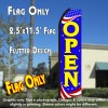 OPEN (Patriotic) Flutter Polyknit Feather Flag (11.5 x 2.5 feet)