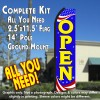 OPEN (Patriotic) Flutter Feather Banner Flag Kit (Flag, Pole, & Ground Mt)