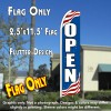 OPEN (Patriotic) Flutter Feather Banner Flag (11.5 x 2.5 Feet)